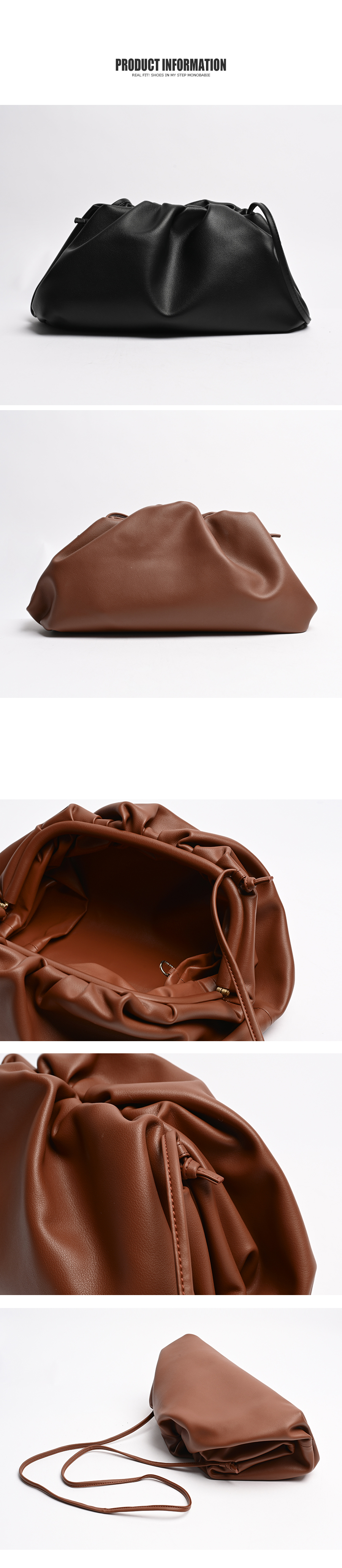 Shirring Real Leather Clutch Bag