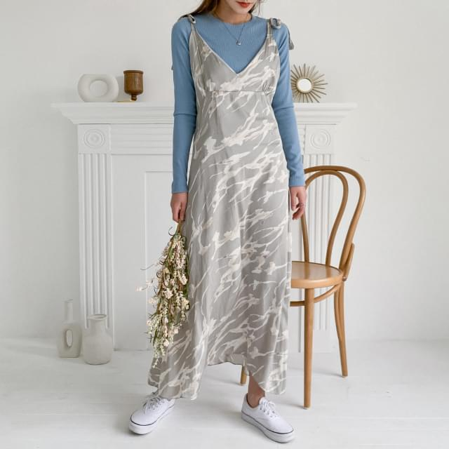 Marbling Pattern Sleeveless Dress 洋裝