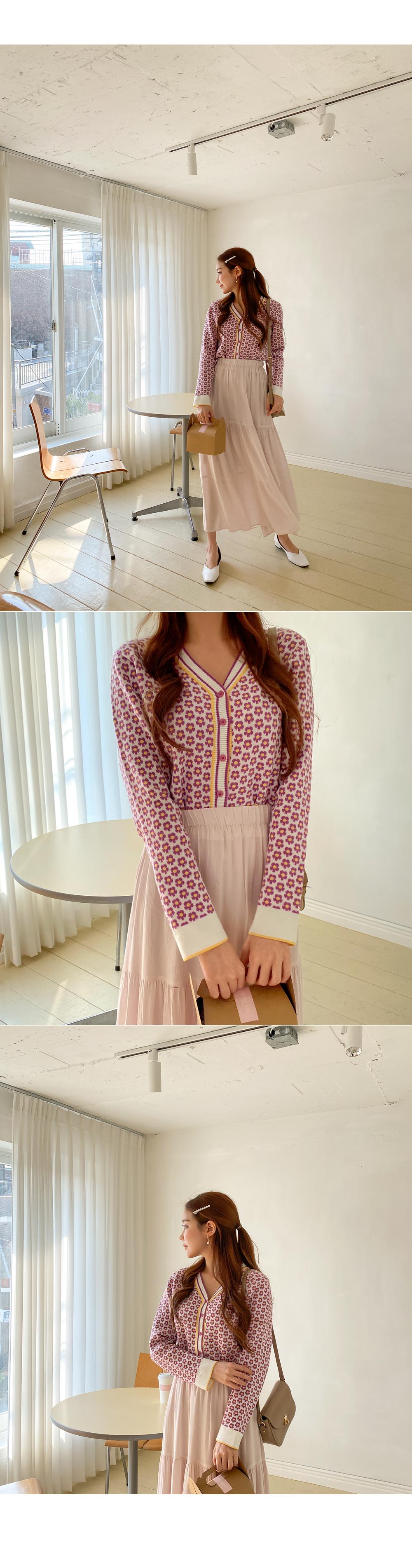 Lilac Holic Flower Pattern Knit Cardigan