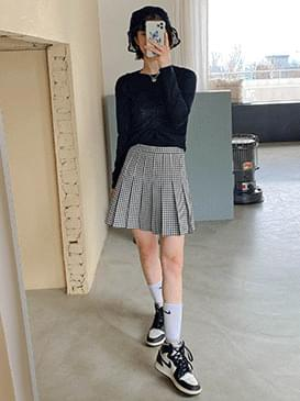 Checkfleet fold mini skirt 裙子