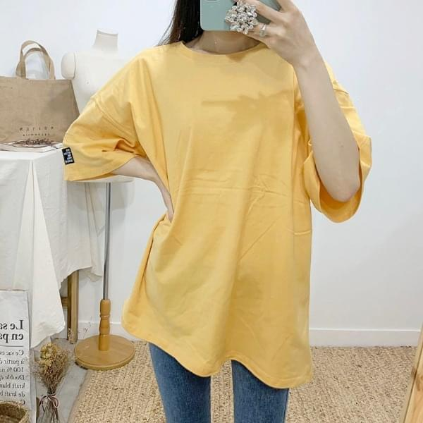 Locking Color Label Round Neck Short Sleeve T-Shirt