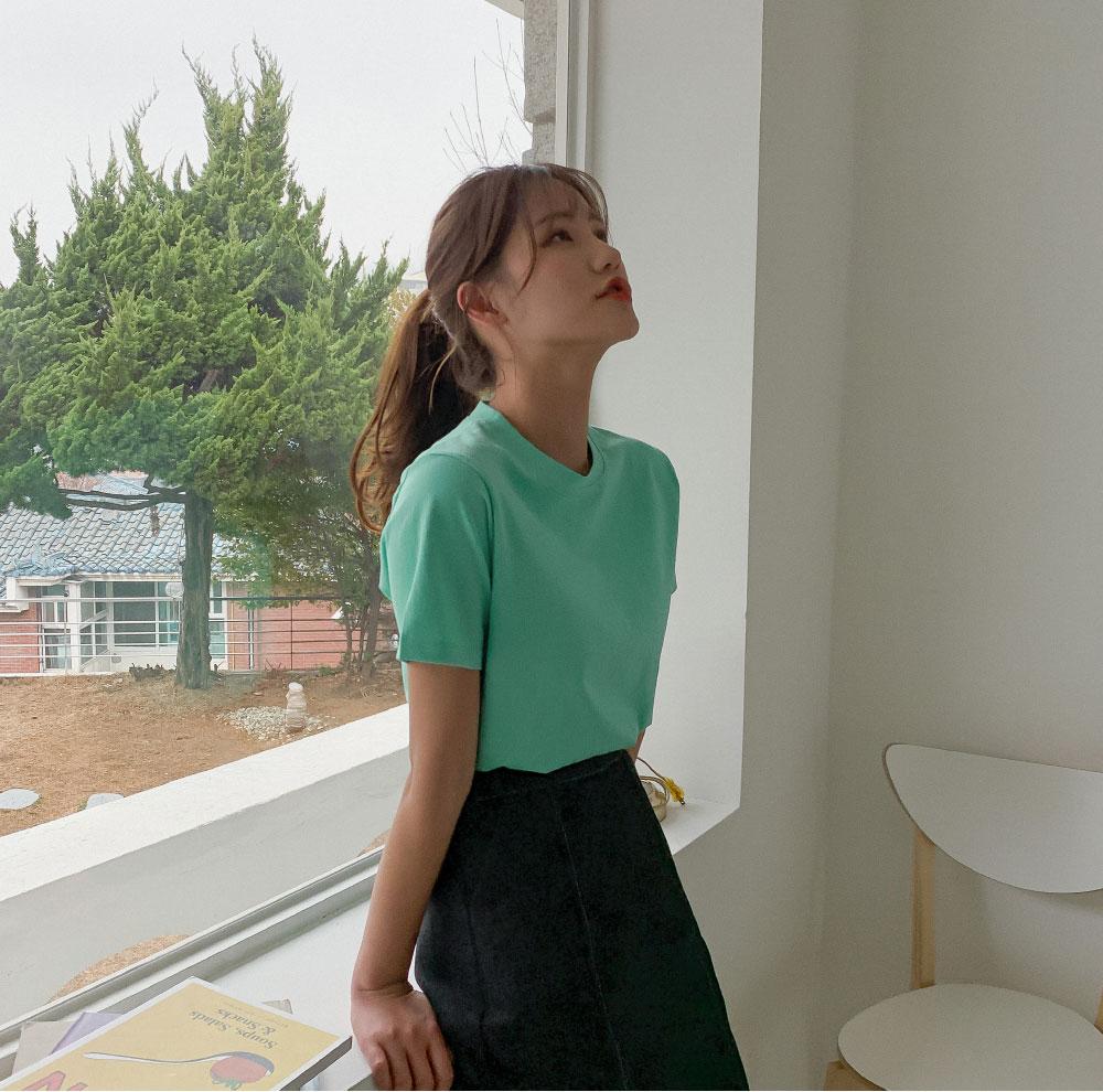 Stitched back banding denim long skirt