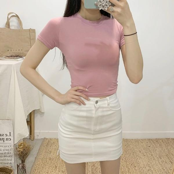 Bellows Round Neck Cropped Short Sleeve T-Shirt