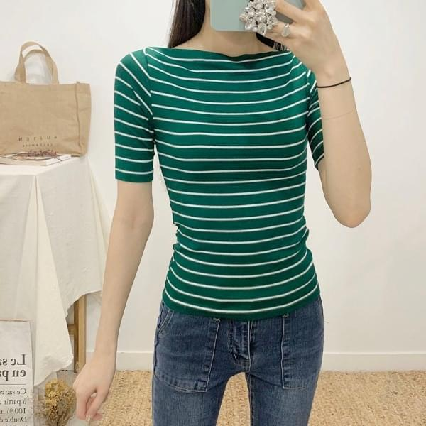 Sheer ring Striped lip neck, part 5 T-shirt