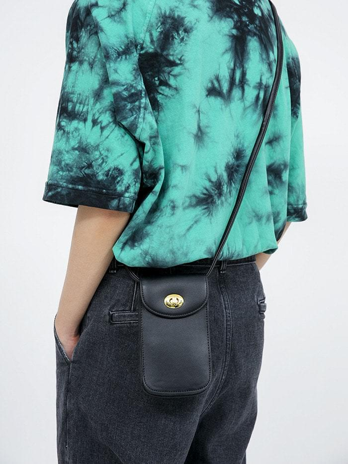 gold buckle mini leather cross bag (3 color)