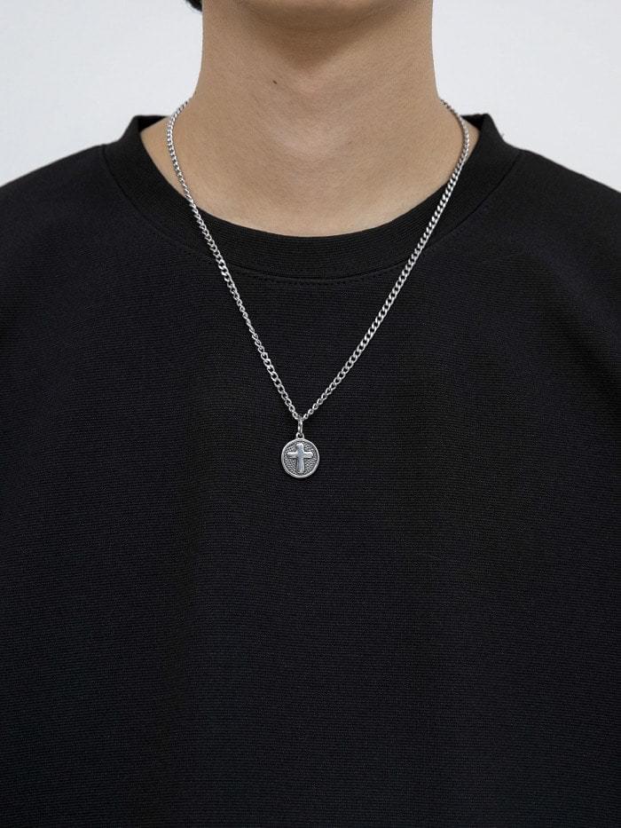 matte circular cross necklace