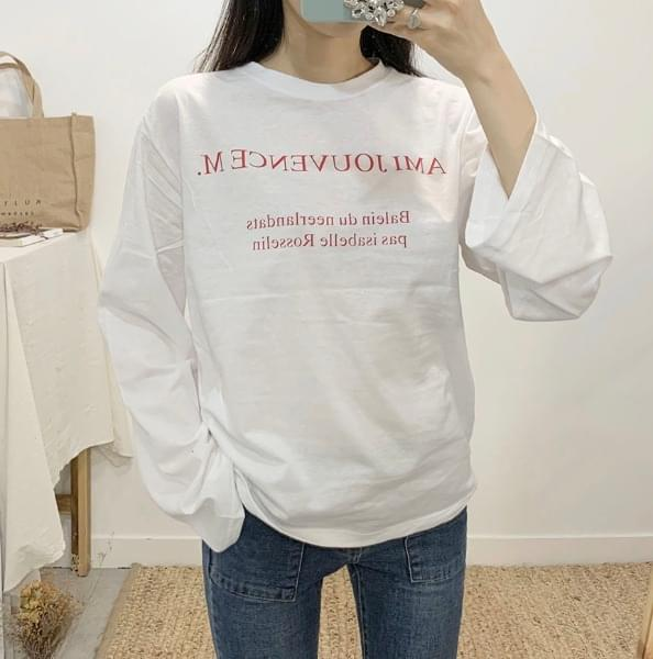 Juvence Lettering Round Neck Long Sleeve T-Shirt