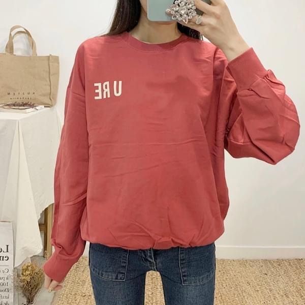 U.R. lettering round neck sweat shirt 長袖