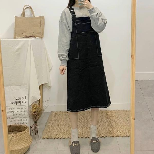 Louis Kaji stitch suspenders long dress 洋裝