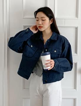 Two pocket blue cotton jacket_C (size : free)
