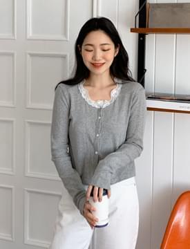 Lovely lace short cardigan_C (size : free)
