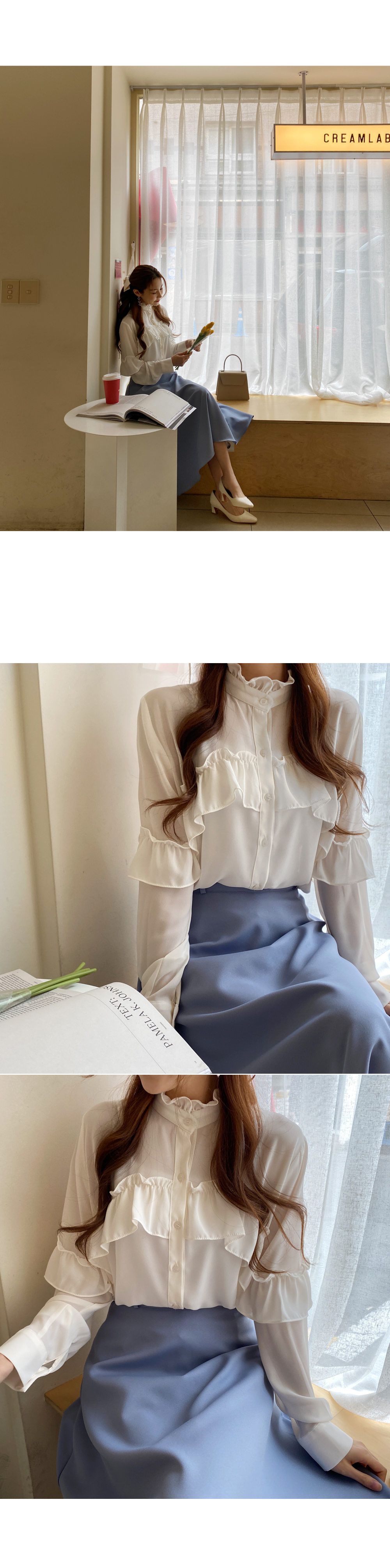 Soft sunny ruffled blouse