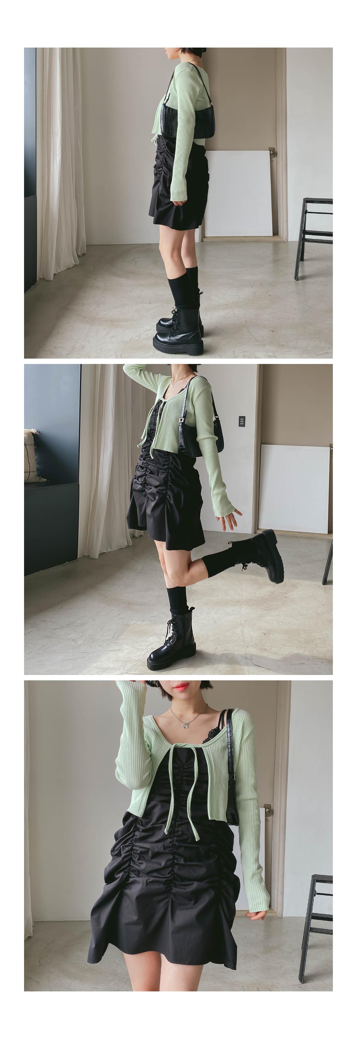 Shirring Pair Mini Dress