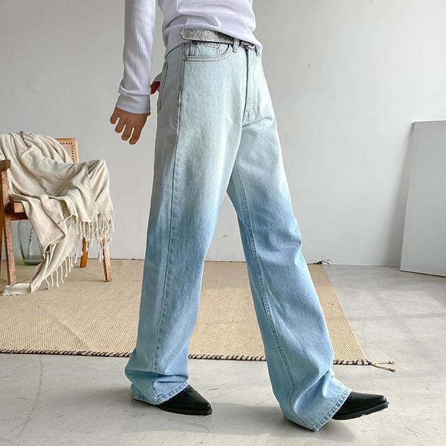 Gradient mid wide denim pants