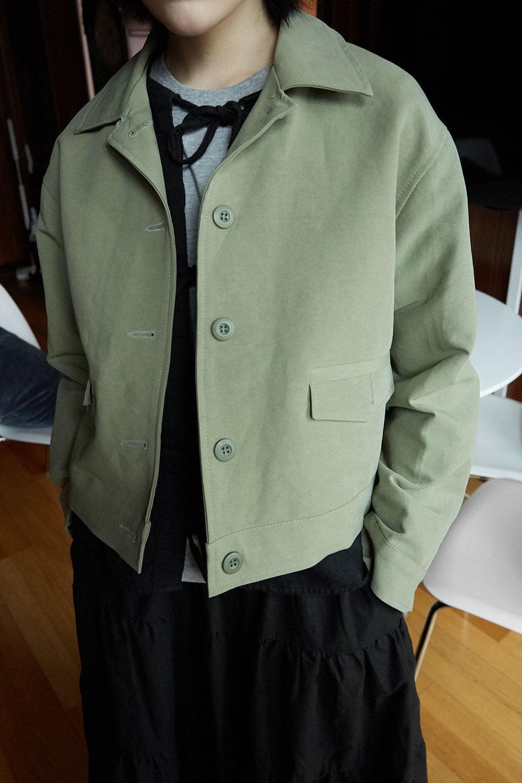 matt cotton simple jacket (khaki)