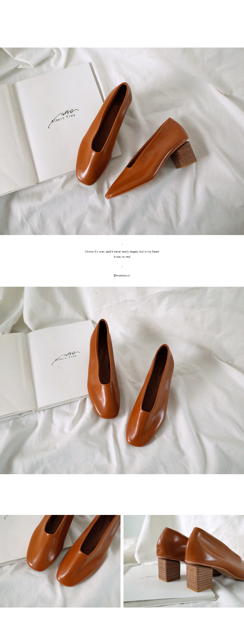 SP0001 Wood Square Feather Leather Pump