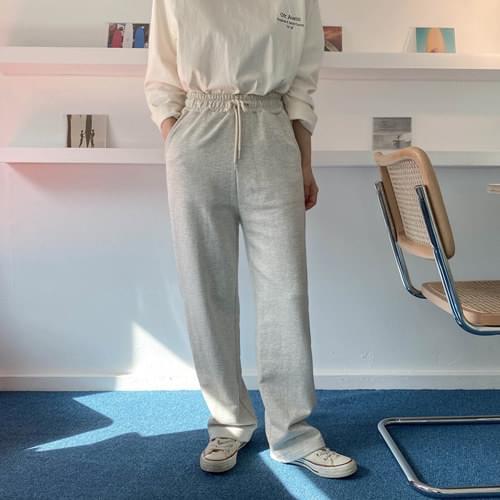 Straight cotton banding pants