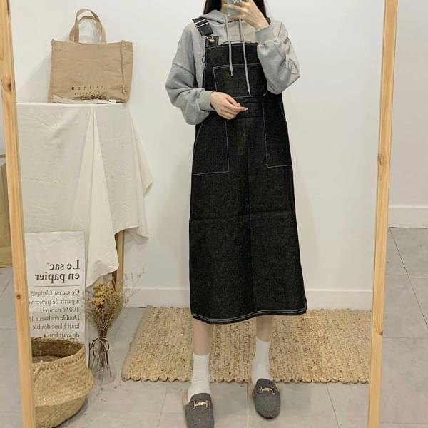 Loihai denim suspenders long dress dresses