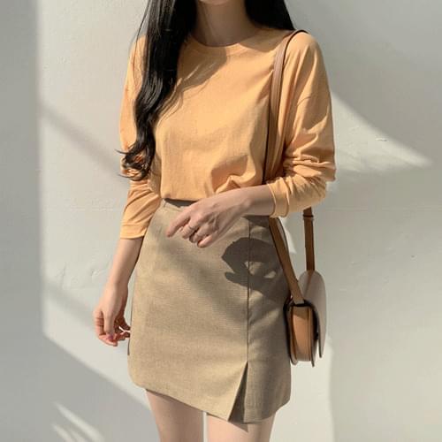 Cream check slit skirt skirt