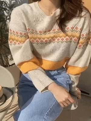 韓國空運 - Flower Round Knit 針織衫