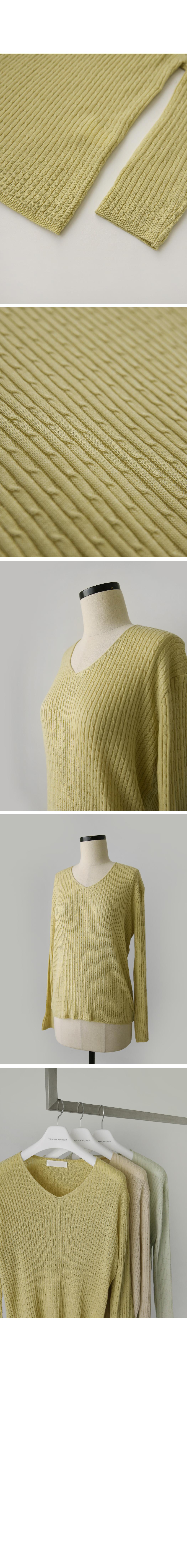 Loreni Zan Cable V Neck Knit
