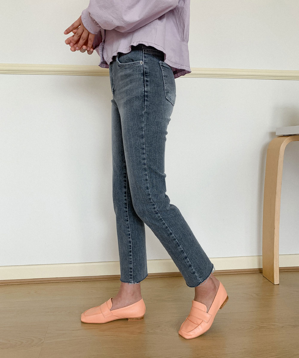 Hem Cut Slim Straight Fit Gray Jeans