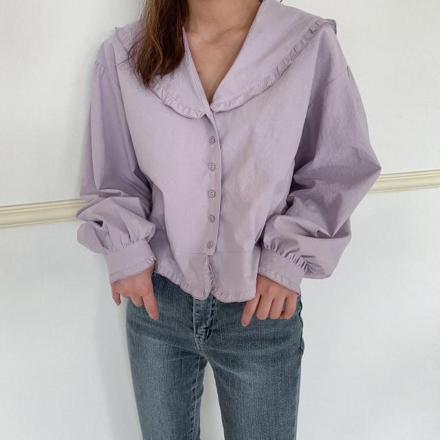 Sailor collar neck frill blouse