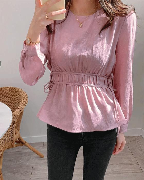 이중 셔링 매듭 blouse - 4color