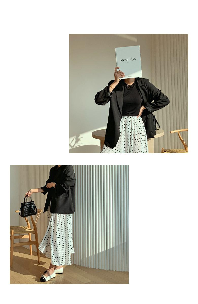 Apple-Dot Flared Long Skirt