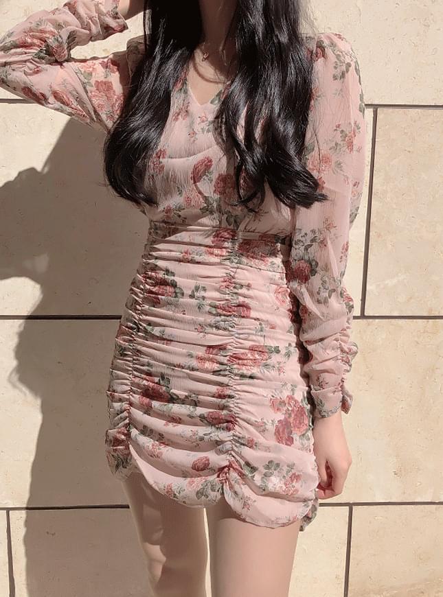 Roman flower shirring dress 洋裝