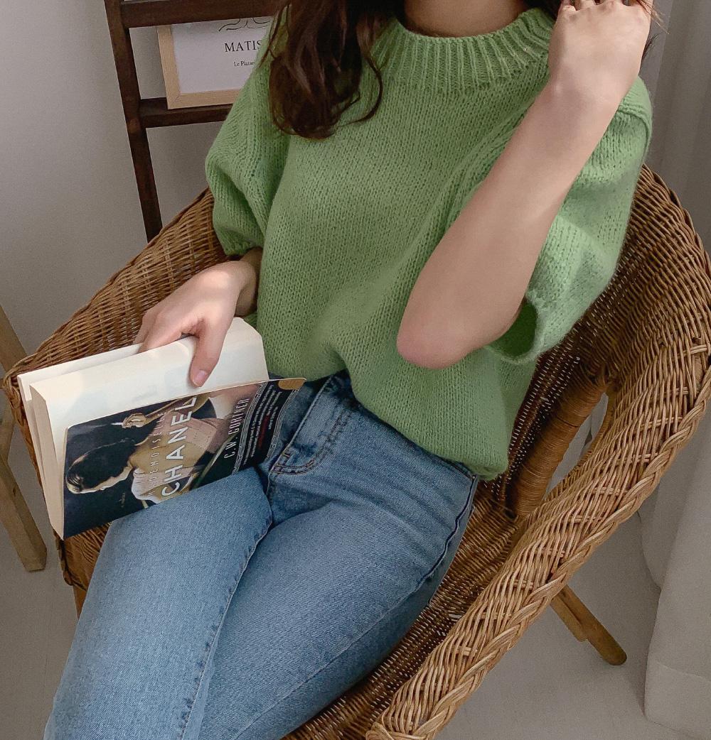 Balloon 5-part sleeve wool knit
