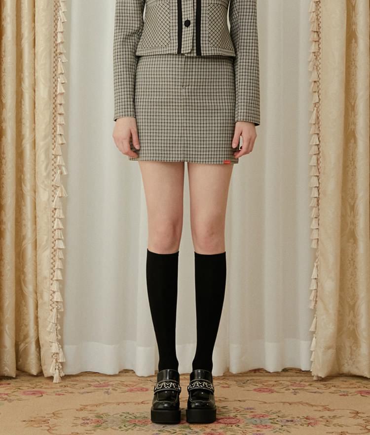 Heart Check Skirt (Beige)