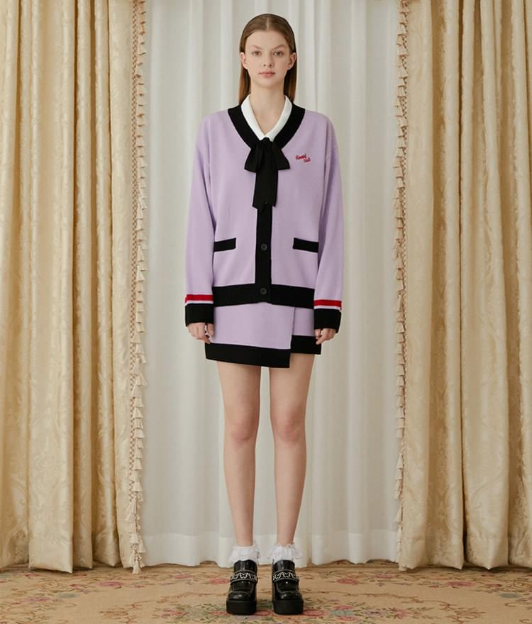 Heart Color Block Knit Cardigan (Light Purple)Heart Color Block Knit Skirt (Light Purple)SET