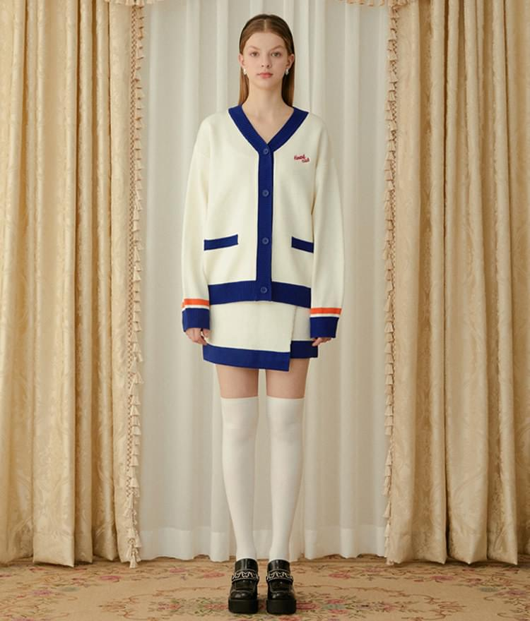 Heart Color Block Knit Cardigan (Ivory)Heart Color Block Knit Skirt (Ivory)SET