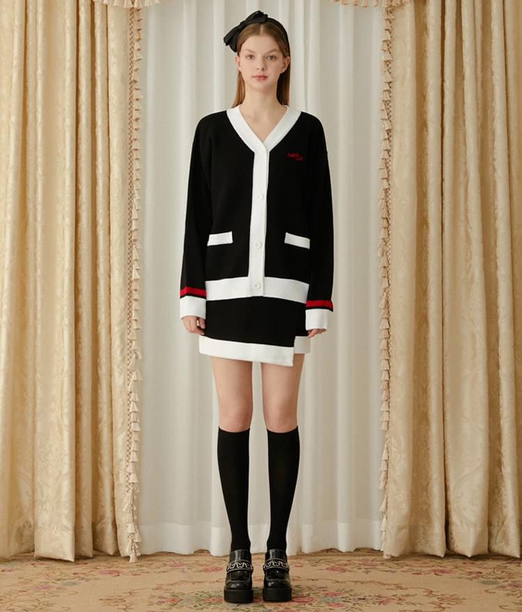 Heart Color Block Knit Cardigan (Black)Heart Color Block Knit Skirt (Black)SET