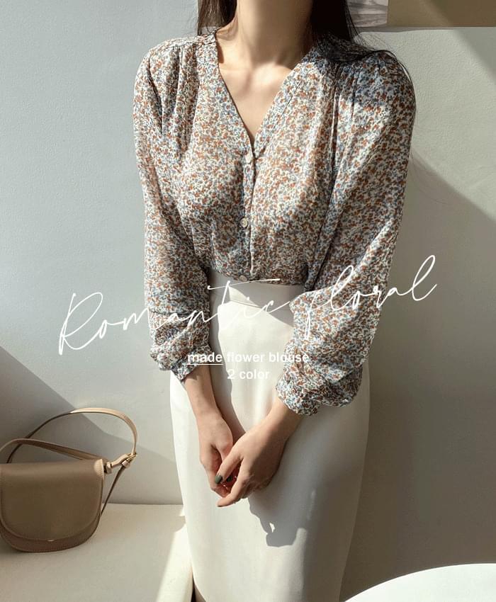 Floral V-neck chiffon blouse