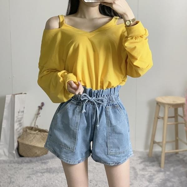 See-through Straps Off Shoulder Long Sleeve Tee