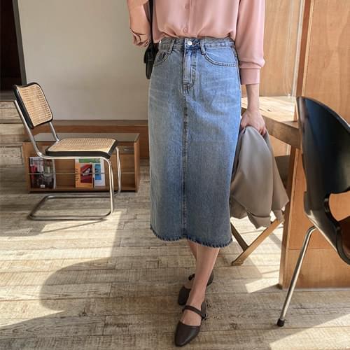 Let's denim long skirt 裙子