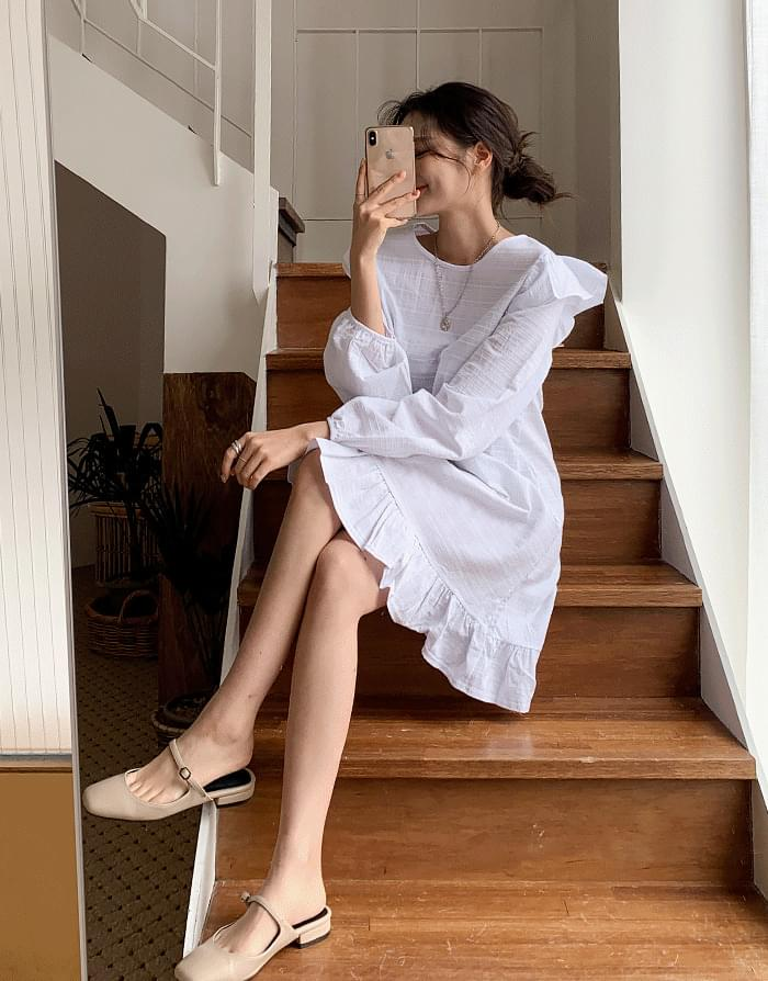 韓國空運 - Petit frill dress 及膝洋裝