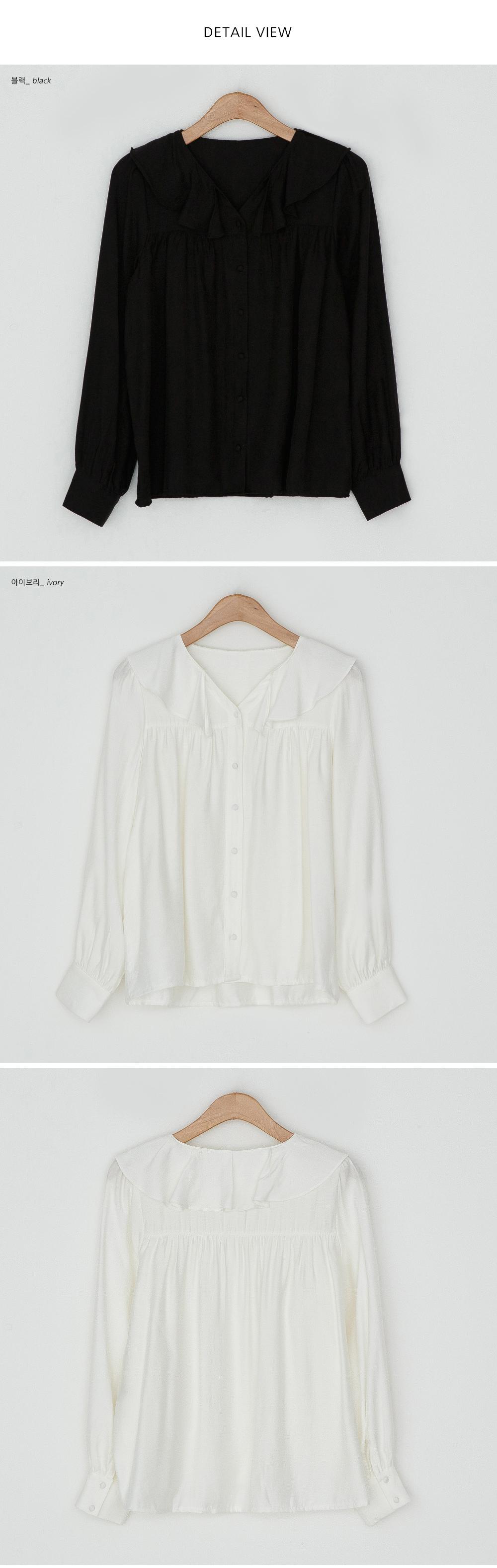 Sailor collar ruffle blouse