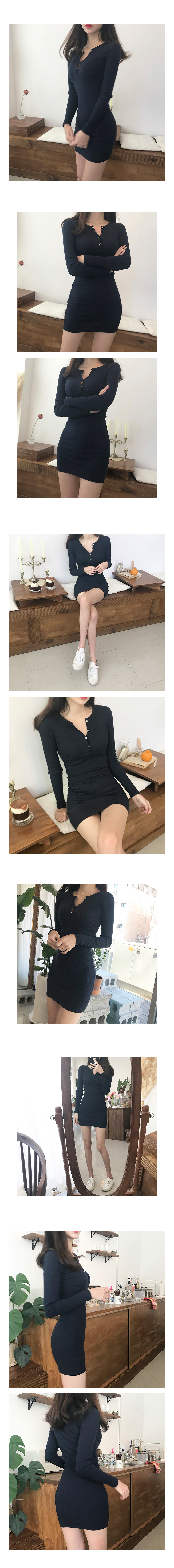 Ribbed Slim Button Mini Dress