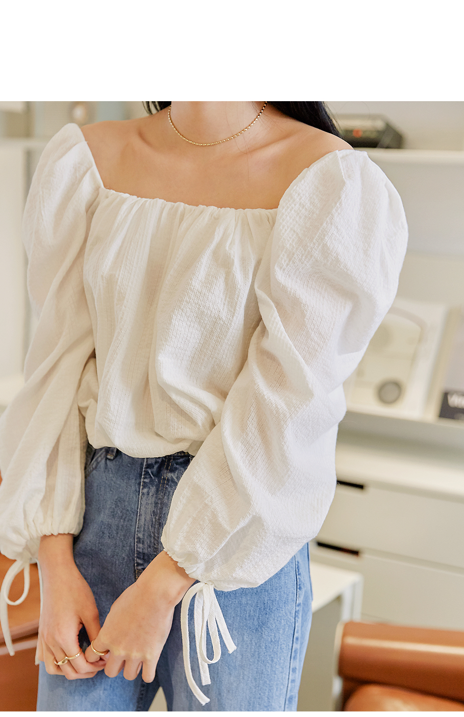 BALLOON STRING SQUARE NECK BLOUSE