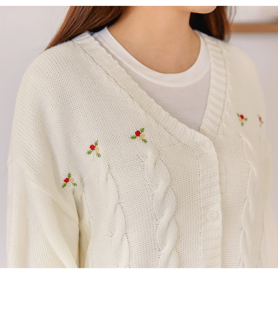 TWIST FLOWER NEEDLE KNIT CARDIGAN