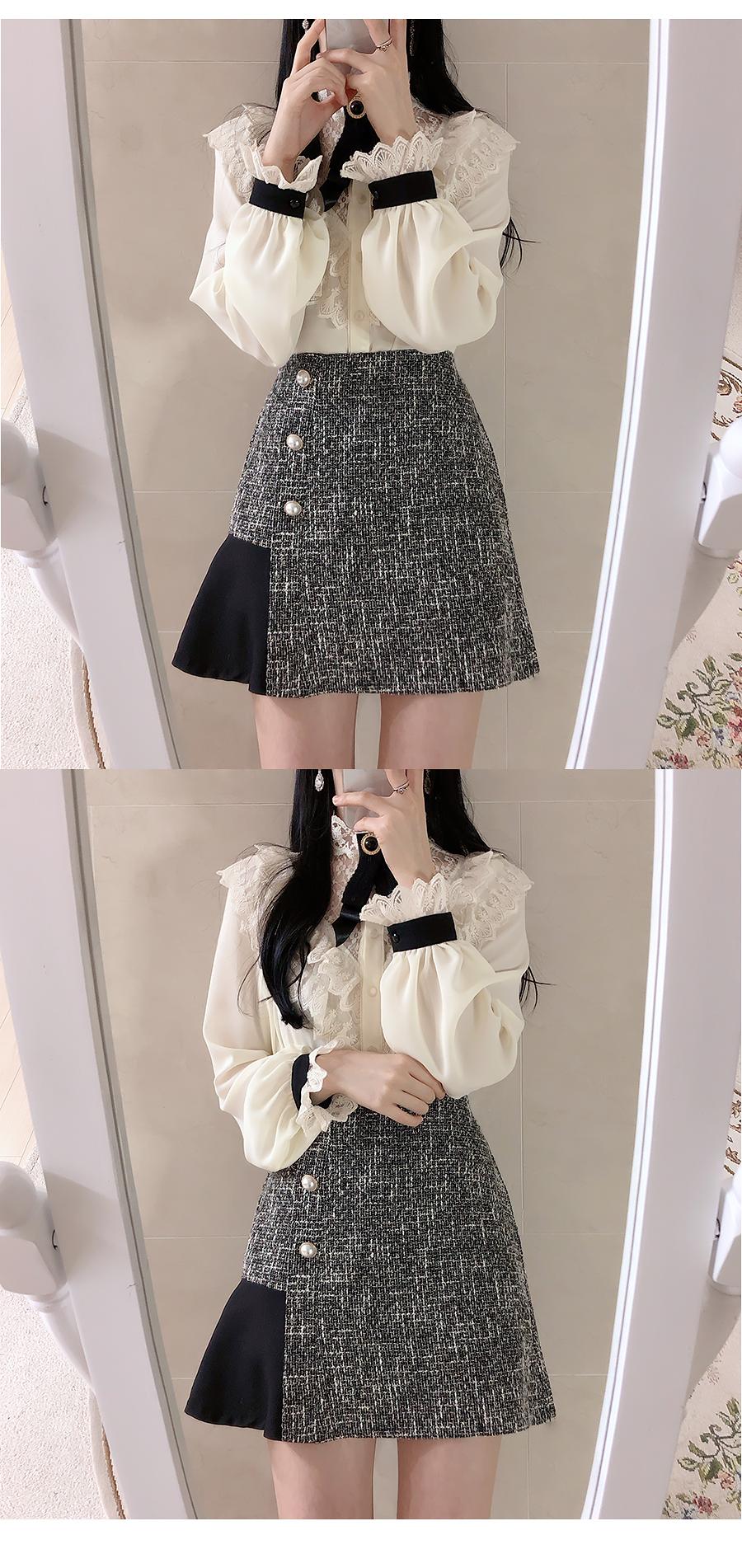 Brooch set Hepburn lace blouse