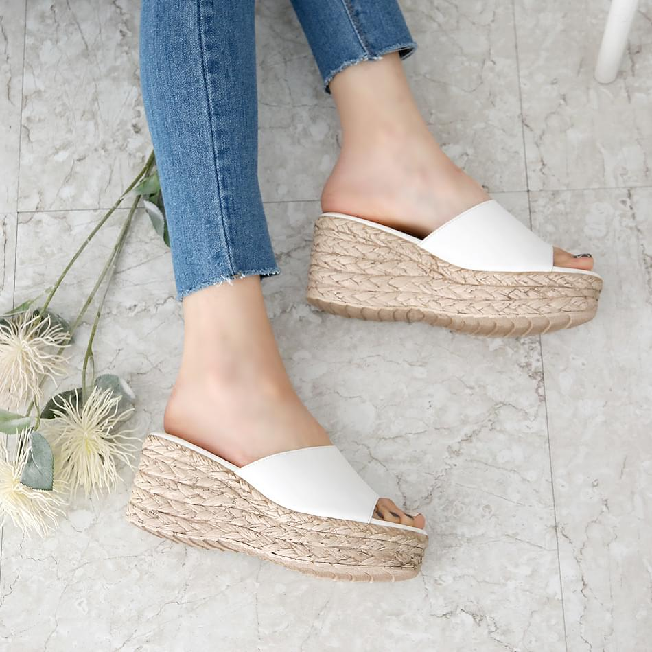 Pedlon leather wedge mule slippers 7 cm