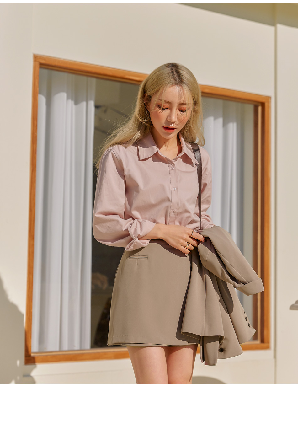 DEMURE UNBAL BASIC COTTON SHIRTS