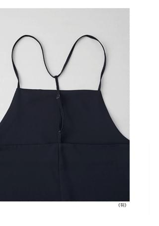 back Y-strap navy sleeveless ops ワンピース