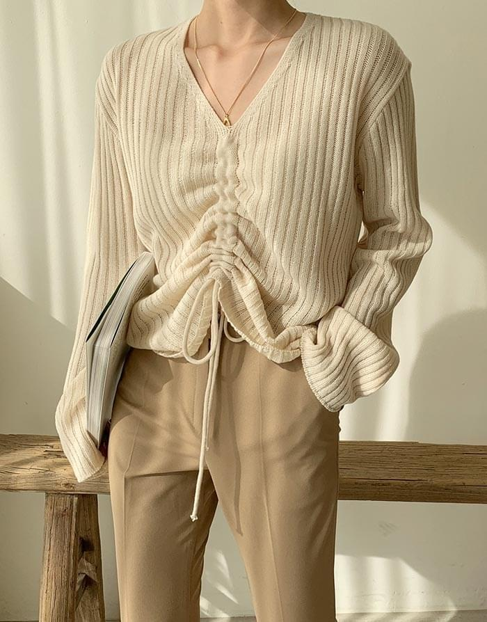 Yeori Golji String V-Neck Knit