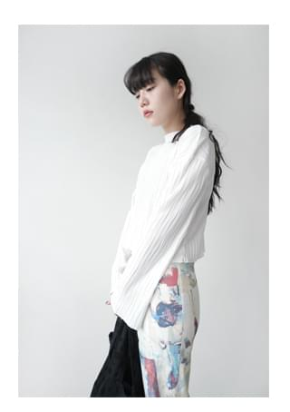 round natural crease top 長袖