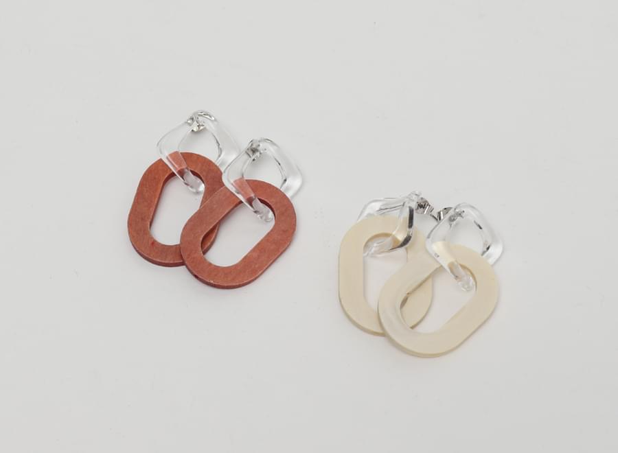 Drop clear wood earring_Y